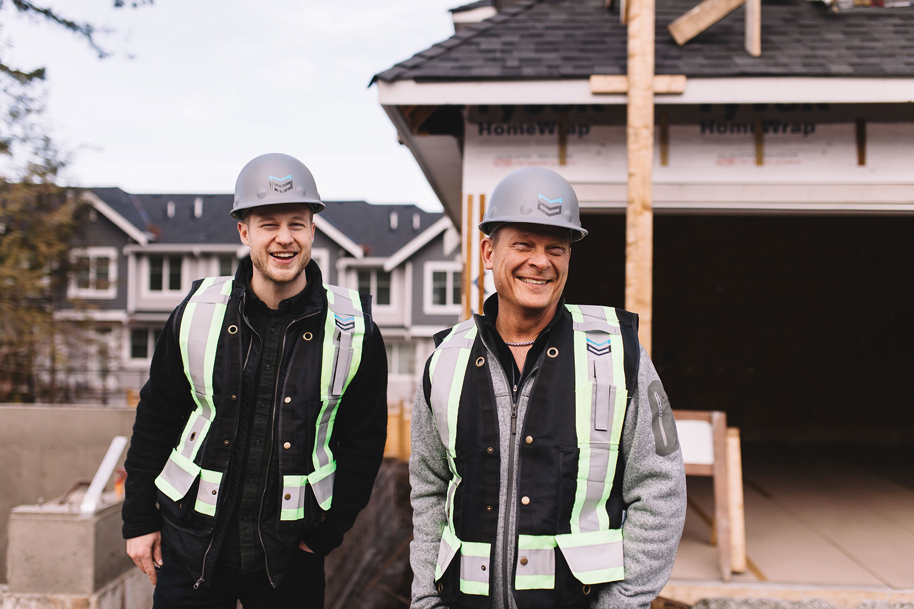 Two construction industry workers on the jobsite